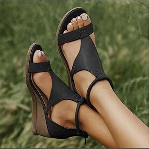KXHWSH Zapatillas De Cuña De Verano, Zapatos Femeninos Mujer Peep-Toe Wedge Sandalias Cómodas, con Correa De Tobillo Suela Gruesa 3-5 CM, Negro/Vino Tinto/Gris/marrón, EU35-EU43