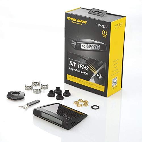 JICHUIO Steelmate TPMS-Autoreifendrucküberwachungssystem Diagnosewerkzeug für das Autoalarmsystem mit LCD-Anzeige 4 Ventilkappensensoren