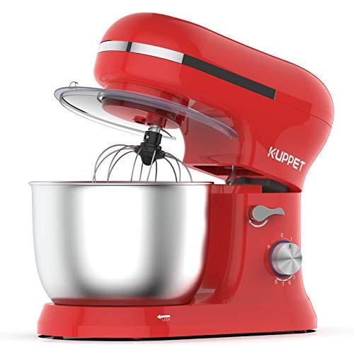Küchenmaschine, KUPPET 1000W mächtig Motor Knetmaschine Praxis Rührmaschine 4.5L, 8-stufige Geschwindigkeit Teigmaschine mit Rührbesen, Knethaken, Spritzschutz, Schläger (Rot)