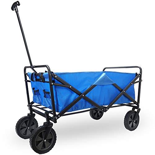 Cepewa Bollerwagen faltbar Bully Handwagen aus Metall 70Kg Tragkraft 360° Räder robuster Leiterwagen für Kinder Gartenkarre (blau)