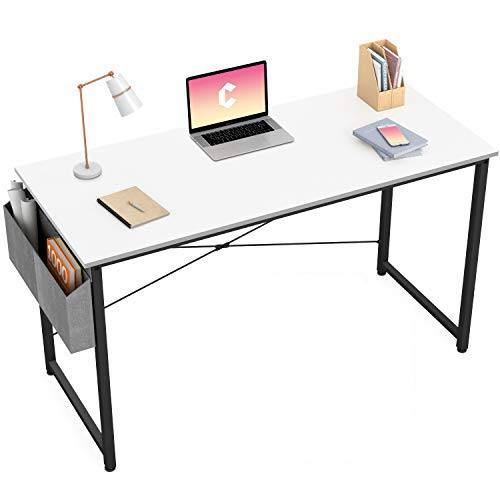 Cubiker Writing Computer Desk 40' Home Office Study Desk, Modern Simple Style Laptop Table with Storage Bag, White