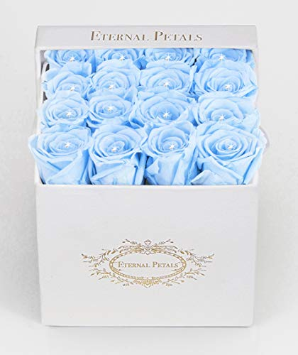 Real Roses That Last A Year - White Velvet Box with Swarovski Crystals (Light Blue)