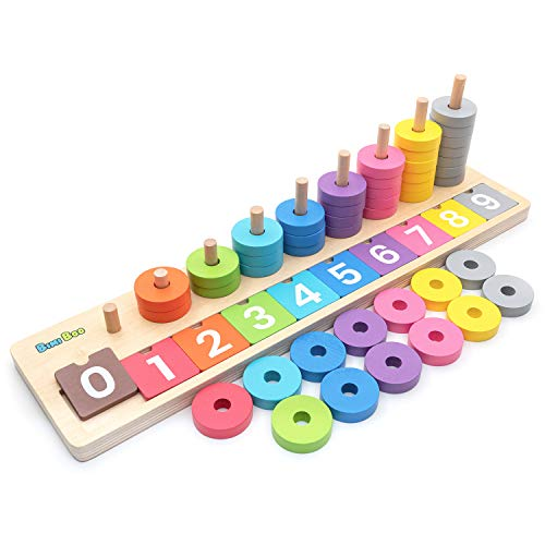 Bimi Boo Blocks Puzzle Board Set, Learning & Educational Toys for Counting Numbers, Sorting Shapes, Color Stacking - Early Education Toy (45 Wooden Rings, 10 Tiles)