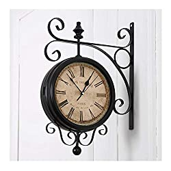 Wall Clock WFL-Home Double Sided European Vintage Decorative Indoor On Bracket Wrought Iron Scroll 360 Degree Rotation Dining Rooms Quartz Clocks Black Silent (Color : B)
