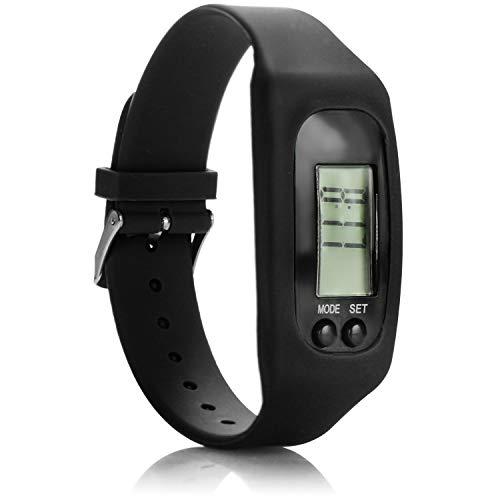 com-four® Sportuhr mit Schrittzähler - Fitnessarmband mit Kalorienzähler - Fitnessuhr mit Distanzmessung - Activitytracker ohne Bluetooth (schwarz)