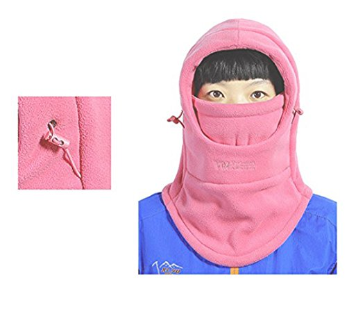 HZTG Children's Winter Windproof Cap Outdoor Sports Mask Warm Face Cover Adjustable Ski Balaclava Hat (Peach Pink)