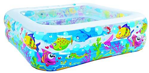 Pullach Hof Pool in Quadrat Form mit Meerestiere Motiv ca. 145cm x 145cm x 45cm Meerestier Pool Sommer Baden Schwimmen Schwimmbad inklusive Reperaturenset