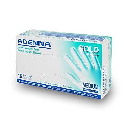 Adenna Gold Latex Powder Free Medical Exam Gloves, Medium (1000 Gloves)