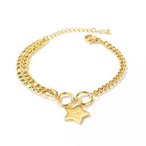Pulsera de acero de titanio para mujer, pulsera con colgante de cruz / letra / estrella con corona