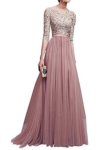 Minetom Donna Vestito Lungo Abito Da Cerimonia Elegante Vestiti Da Matrimonio Lunghi Formale Banchetto Sera Maxi Dress Pizzo Rosa IT 44