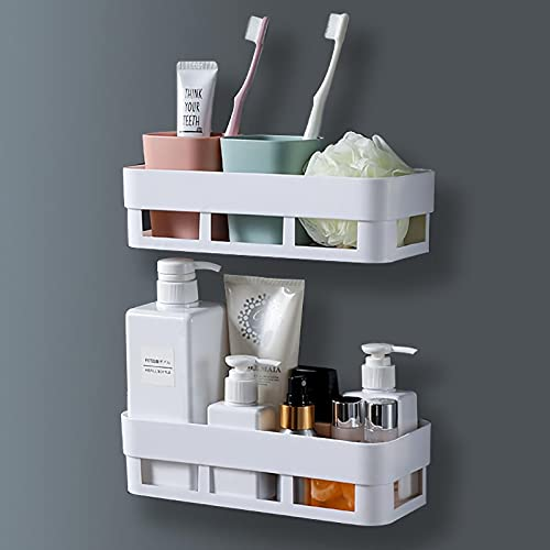 CLEKOD Wall Shower Caddy Corner Shelf Adhesive, Plastic Bathroom Storage Caddies Organizer Drill Free for Shampoo Conditioner Toothbrush Sponge
