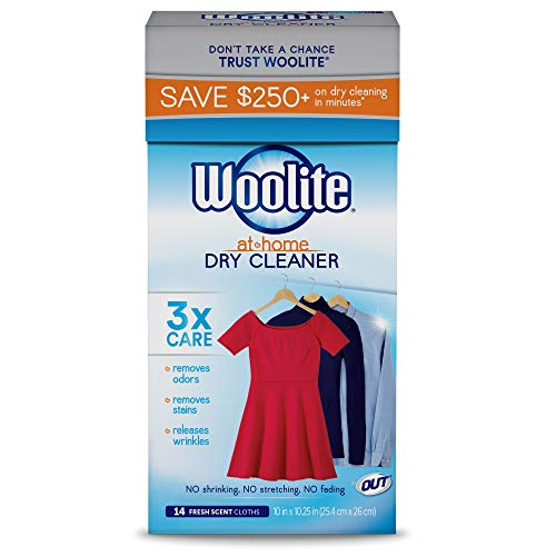 Woolite At-Home Dry Cleaner Dry Cleaning Cloths and Stain Removal, Easy to Use, Safe on Wool, Cashmere, and Designer Jeans, Fresh Scent, 14 Cloths