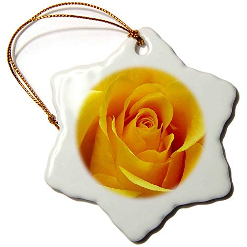 Blake55Albert Yellow Rose Christmas Ornaments for Kids Christmas Tree Decoration Ceramic 3 Inches