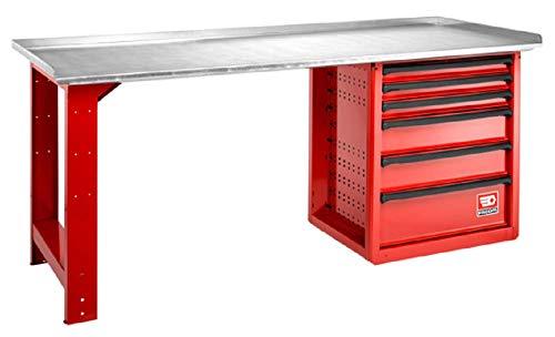Facom 2000.ROLL6M3G Wartungstisch mit 6 Schubladen, verzinkt, mehrfarbig, 2 m