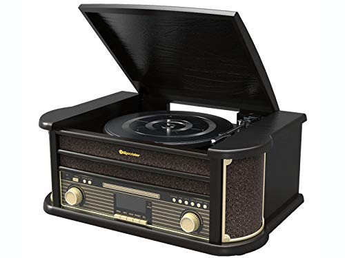 Roadstar HIF-1898D+BT Black Wooden Retro FM / DAB Radio, 33 /45 /78 rpm Turntable Record Player with CD Player, Bluetooth, USB, AUX-IN