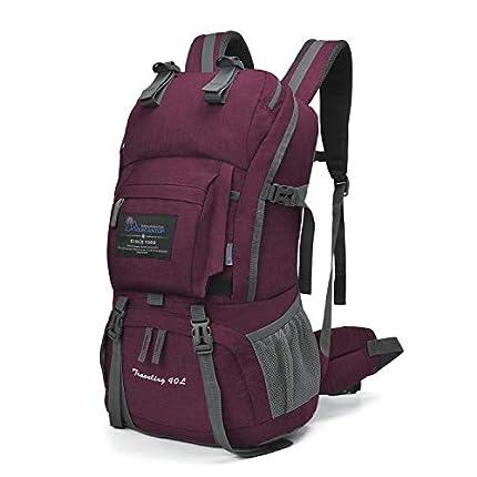 MOUNTAINTOP 40 litros Mochila de Senderismo, Impermeable Mochila Trekking al Aire Libre Mochilas de Montaña Viajes Acampadas con Cubierta de Lluvia (Púrpura Y Rojo)