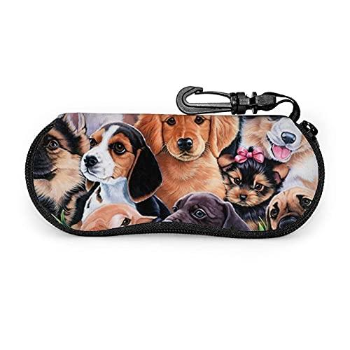 Estuche para Gafas con Estampado de Perro Cachorro Bonito Estuche rígido para anteojos Estuche para anteojos con Cremallera Estuche Protector para Gafas de Metal con Carcasa rígida Se Adapta
