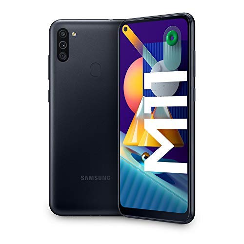 Samsung Galaxy M11, Smartphone, Display 6.4' HD+ TFT, 3 Fotocamere, 32GB Espandibili, RAM 3GB, Batteria 5000 mAh, 4G, Dual Sim, Android 10, 2020 [Versione Italiana], Black