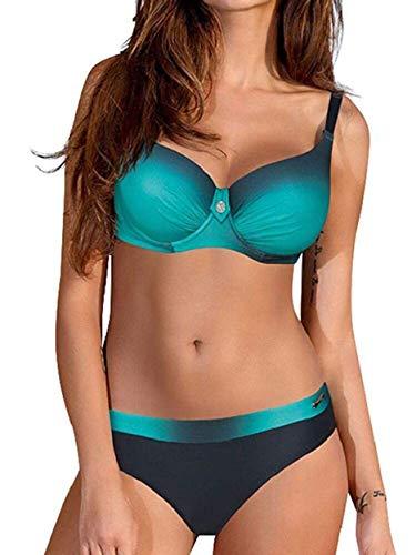 Yuson Girl Bikini Sets Damen, Bademode Push Up Bikinis Sexy Badeanzug Bikinis für Frauen (Schwarz Und Grün,40-42)