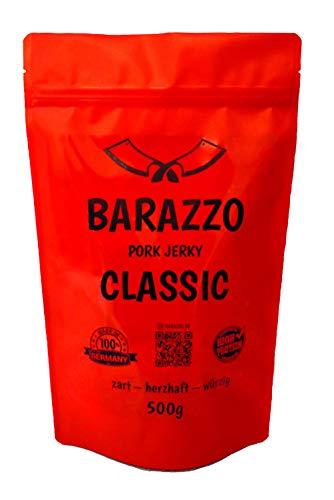 Barazzo Jerky Pork Classic 1 kg - 2x500g Maxibeutel - proteinreicher Trockenfleisch Snack mit wenig Fett - Hergestellt vom Deutschen Handwerk - Beef Jerky/Biltong