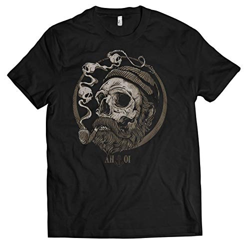 NG articlezz Herren T-Shirt Shirt Sailor Skull Beard Bart AHOI Kapitän