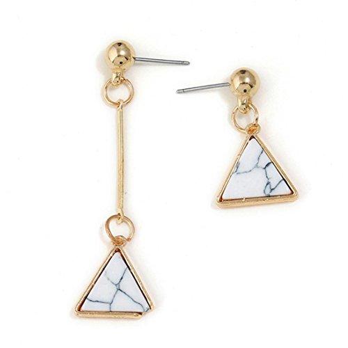 Hirolan Dreieck Ohrringe, Mode Crackle Türkis asymmetrische Ohrring Geometrie Volks-Brauch Ohrring Damen Creolen Ohrringe Ohrstecker Elegant Ohrhänger (Weiß)