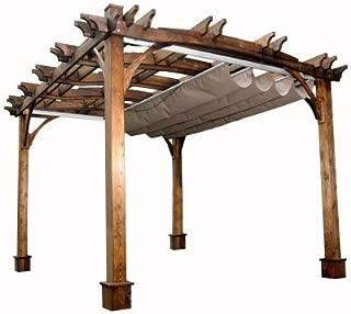 10 ft. x 12 ft. Arched Breeze Cedar Pergola with Retractable Canopy