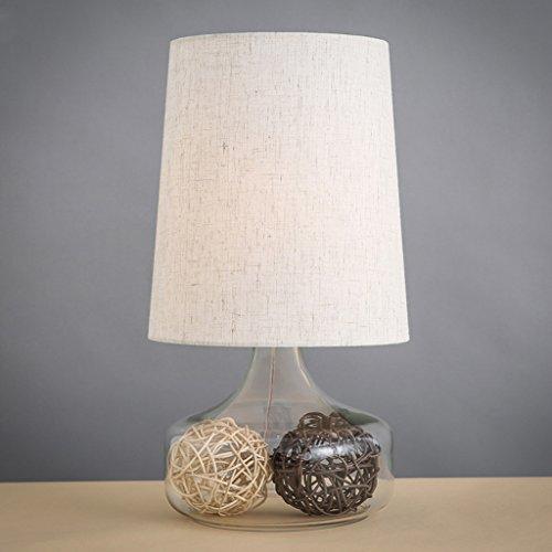 CKH stoffen tafellamp nachtkastje studie bureaulamp glazen vaas base plug button schakelaar