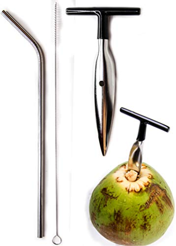 Ken's CocoMon Coconut Opener Tool + Stainless Straw for Fresh GREEN Young Fruit Black Rubber Handle...