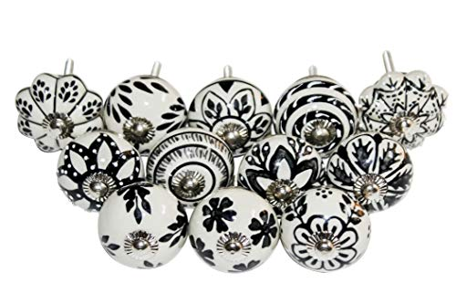 VybonCraft Black & White Gray Hand Painted Antique Ceramic Knobs Kitchen Cabinet Knobs Cabinet Drawer Pull Puller Handles Set of 12 Knobs