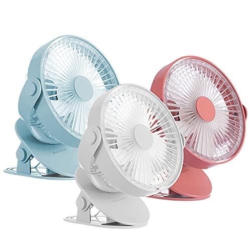 UOGAR Ventilador de escritorio portátil con clip recargable, luz nocturna LED para el hogar, la oficina, el coche, el gimnasio, el camping