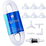 WOW Design 3/16-Inch Professional Flexible Silicone Airline Tubing Standard Aquarium Air Pump Accessories with Check Valves, Suction Cups and Connectors, 20 Feet(Clear-White)