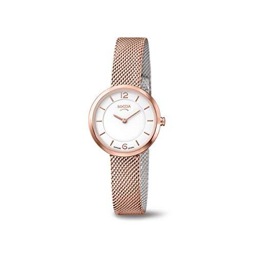 Boccia Damen Analog Quarz Uhr mit Edelstahl Armband 3266-07