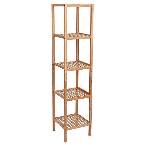 Estantería de bambú para baño de 5 niveles, multifuncional, 146 x 33 x 33 cm, color natural