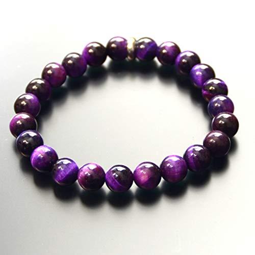 Purple Tiger Eye Gemstone Bead Bracelet Stretch Chakra Energy Balance Protection Healing Gift for men & women 10mm 8mm