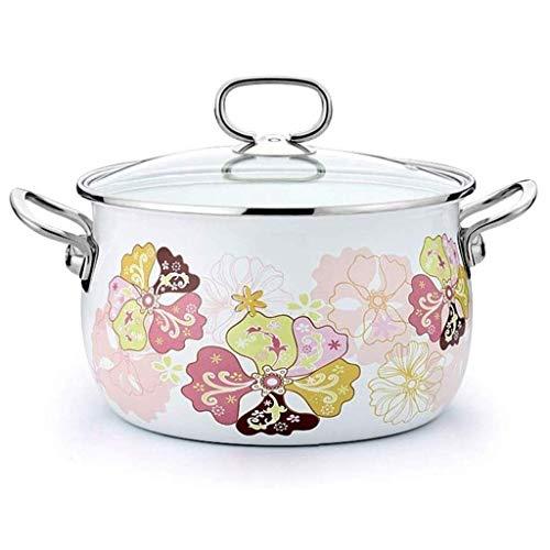 CJTMY Sopa de Olla - de Alta Temperatura Esmalte Leche Olla Engrosada Doble de Gran Capacidad del oído del Esmalte del pote Cocina