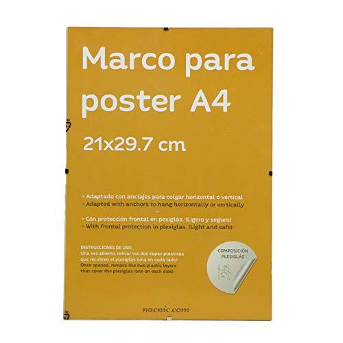 Nacnic Marco Transparente de Clip Soporte Transparente para Fotos, Posters, Diplomas, Dibujos o láminas. Tamaño A4 (21x29.7 cm). Marco Clip Transparente con plexiglas y Anclajes para Colgar