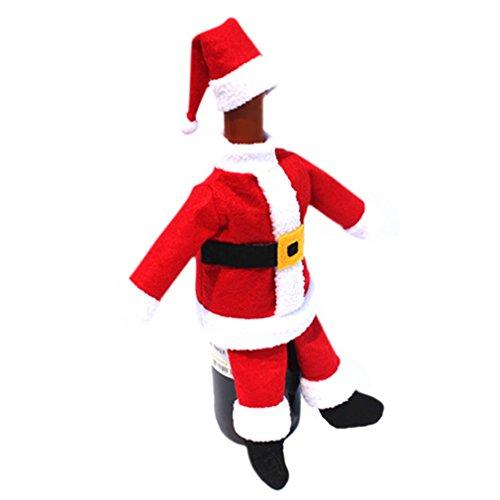 HENGSONG 1 Set Rot Weihnachten Dekoration Weinflachen Deko Tisch Deko Weihnachtsmann Kostüm mit Hut
