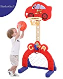 KIMI HOUSE Basketball Hoop Set, Adjustable Height 45-65inch, 3-in-1 Sports Activity Center: Adjustable Easy Score Basketball Hoop, Football / Soccer Goal, Ring Toss, Best Gift for Toddlers and Kids