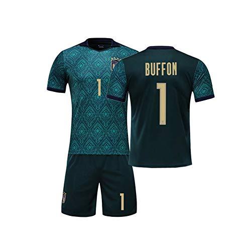 PAOFU Fan-Fußballtrikot Für Männer Und Jungen Italienische Fußballmannschaft # 1 Gianluigi Buffon Fußball Trikot Setzt,Grün,13 Years