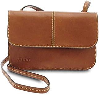 GIUDI ® - Tracolla, Made in Italy, borsa Donna in pelle vacchetta nuvolata, vera pelle. (Marrone)