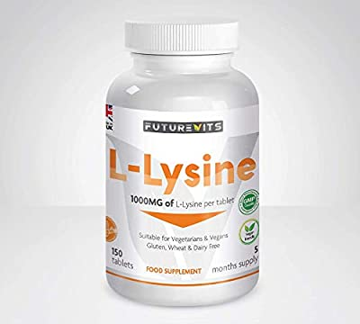 L-Lysine 1000mg 150 Tablets 5 Month Supply Vegetarian and Vegan Friendly Made UK Futurevits
