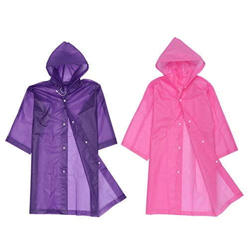 Wakauto Transparenter Regenponcho Faltenfrele Kapuze Regenbekleidung mit Kapuze,Eva Regenmantel Kinder Wasserdicht Weiß Transparent Atmungsaktiv,Regencape Wiederverwendbar Regenanzug(Rosa-Lila)