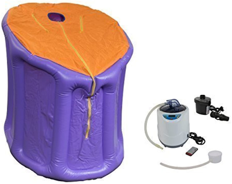 Mini-Dampfsauna Svedana lila Orange mit elektronisch geregelten Dampferzeuger 2 Liter, 1000 W und drahtloser Fernbedienung