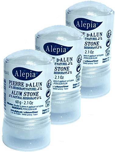 Juego de 3piedras de alumbre de potasio en Stick 60G–sin chlorhydrate de aluminio–Alepia