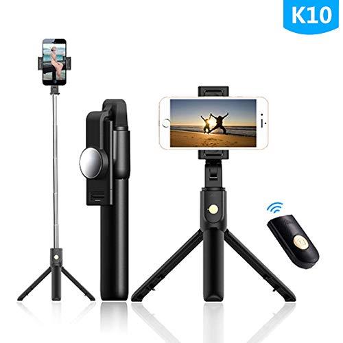 Gcputao Bluetooth Selfie Stick Telecomando High-End Treppiede Mobile Universale Fotocamera dal Vivo Multi-Funzionale K10 Nero con Specchio