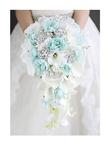 CU Twice Blaue Blume Calla-Lilien-Hochzeit Blumenstrauß Wasserfall Romantische Designer Künstliche Blumen-Brautblumenstrauß,Brautstrauß