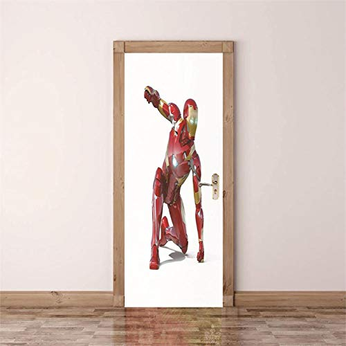 Fantxzcy Adhesivos para puertas con efecto 3D Rojo robot guerrero 77x200cm Pegatinas de puerta 3D Mural adhesivo de pared autoadhesivo arte lienzo póster impresión vinilo hogar calcomanía Deco Art Dec