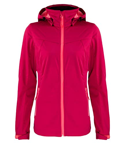 Icepeak Damen Softshelljacke Outdoorjacke Regenjacke Boise 5-54 974 694, Farbe:Pink, Größe:38, Artikel:-670 Carmine