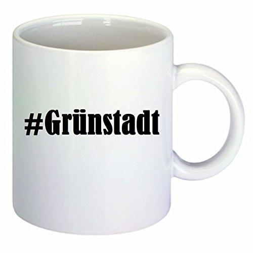 Kaffeetasse #Grünstadt Hashtag Raute Keramik Höhe 9,5cm ? 8cm in Weiß